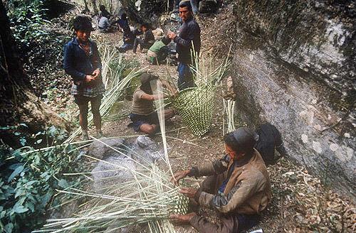Making new baskets on trek, Nepal