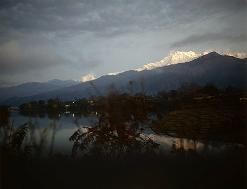 Lake Phewa and mountains at dawn, Pokhara, Nepal