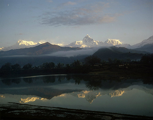 Annapurna south and 1, Lake Phewa, Machapuchare and Annapurna 3, Pokhara, Nepal