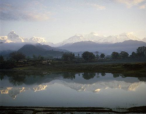 Machapuchare, Annapurna 3, 4 and 2, Lamjung Himal reflected in lake Phewa, Pokhara, Nepal