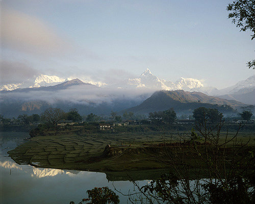 Annapurna south, Lake Phewa, Machapuchare, Annapurna 3 and 4, paddy fields, Pokhara, Nepal