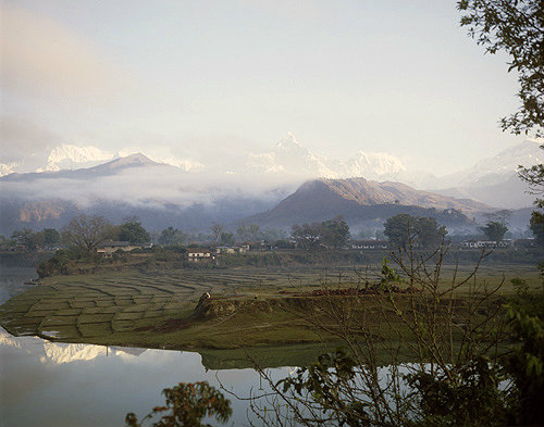 Annapurna south and Machapuchare, Lake Phewa, Pokhara, Nepal