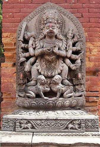 Bhairab, a fierce incarnation of Shiva, sacred to both Hinduism and Buddhism, Durbar Square, Bhaktapur, Nepal