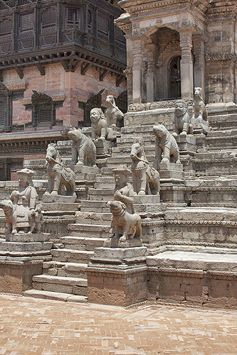 Stone figures on steps leading to Siddhi Lakshmi Temple, seventeenth century, Durbar Square, Bhaktapur, Nepal