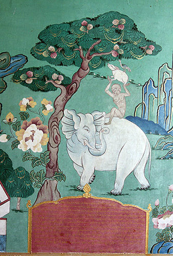 Illustration of an elephant, Kopan Tibetan Buddhist Monastery, Kathmandu, Nepal