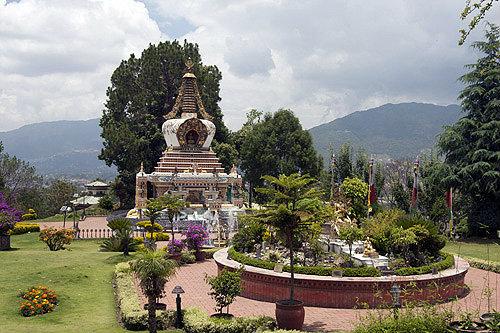 Garden with shrine, Kopan Tibetan Buddhist Monastery, Kathmandu, Nepal