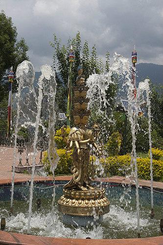Fountain in garden of Kopan Tibetan Buddhist Monastery, Kathmandu, Nepal