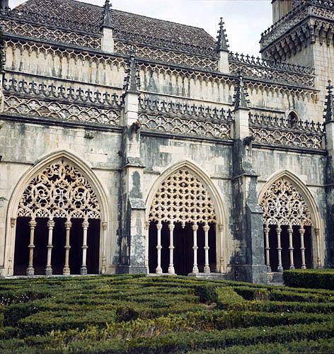 Batalha Abbey Church, begun 1386, completed circa 1517, east arcade of cloister, central region, Portugal