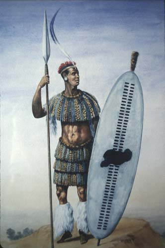 King Shaka, painting by Gerard Benghu in Killie-Campbell Africana Library, Durban, South Africa