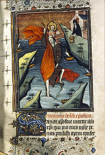 South Africa, National Library of South Africa, Capetown, St Christopher from a 14th century manuscript from a Book of Hours