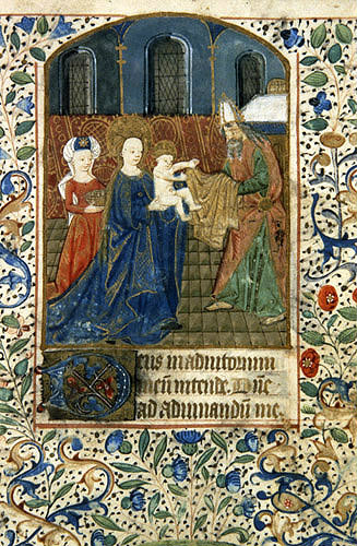 The Presentation, a 14th century manuscript from a Book of Hours, Natonal Library of South Africa, Capetown
