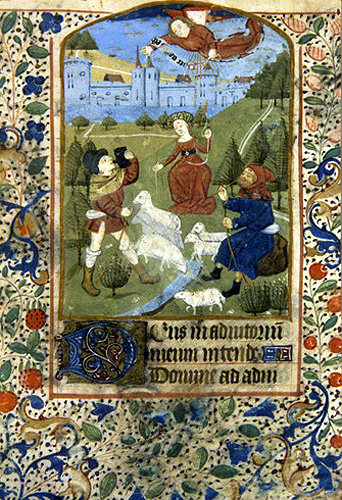 South Africa, National Library of South Africa, Capetown, Annunciation to the Shepherds, a 14th century manuscript from a Book of Hours