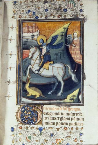St George and the Dragon, 14th century MS from a Book of Hours, National Library of South Africa, Cape Town, South Africa