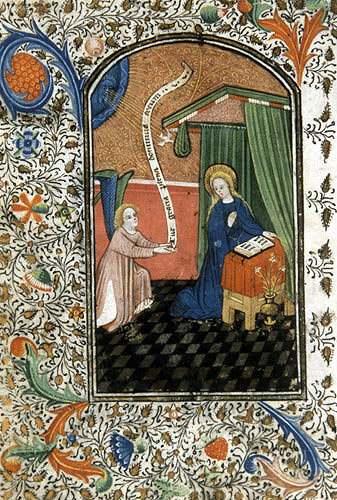 South Africa, National Library of South Africa, Capetown, the Annunciation, from a 14th century Book of Hours