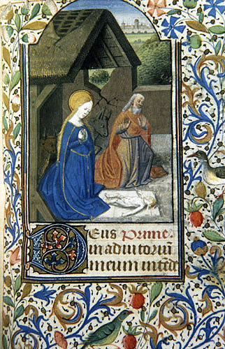 South Africa, Capetown, National Library of South Africa,  the Nativity, from a 14th century Book of Hours