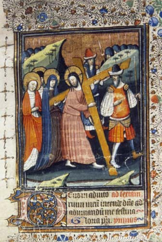 Carrying the cross, 14th century MS from a Book of Hours, National Library of South Africa, Cape Town, South Africa