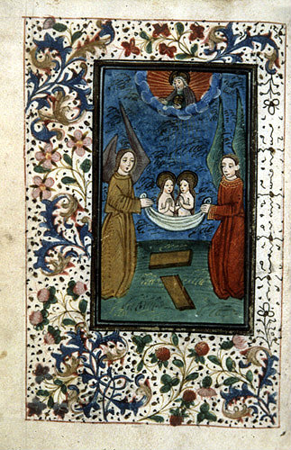 South Africa, National Library of South Africa, Capetown, God creates man and woman over the tablet of the law, from a 14th century Book of Hours