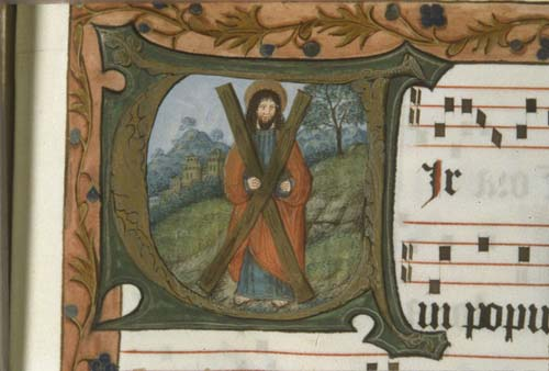 St Andrew with x-shaped cross, 14th century manuscript in the National Library of South Africa, Capetown, South Africa