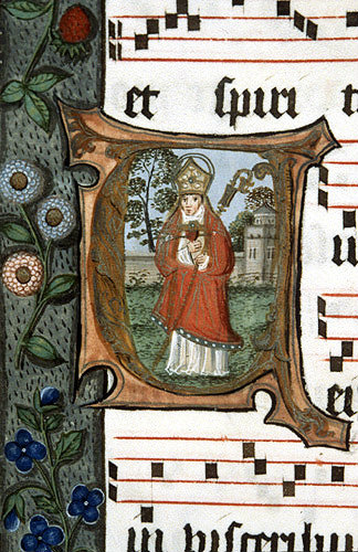 South Africa, National Library of South Africa, Capetown, a bishop, from a 14th century Book of Hours