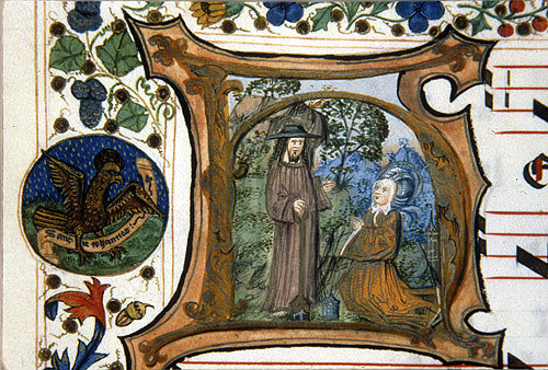 South Africa, National Library of South Africa, Capetown, Jesus appears to Mary Magdalene in garden a 14th century manuscript from a Book of Hours