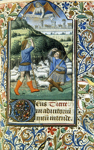 South Africa, Capetown, National Library of South Africa,  Annunciation to the shepherds, from a 14th century Book of Hours