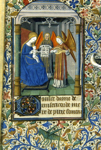 South Africa, National Library of South Africa, Capetown, the Virgin Mary with Jesus and two angels, 14th century Book of Hours