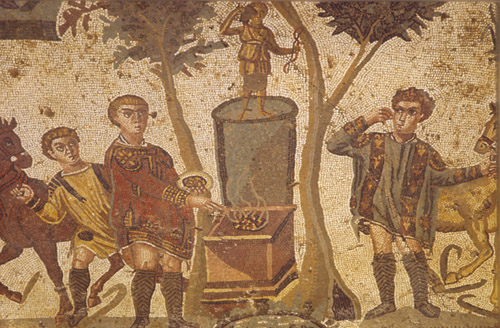 Hunter lights sacrificial fire beneath image of Artemis, 3rd - 4th century Roman mosaic, Piazza Armerina, Sicily, Italy