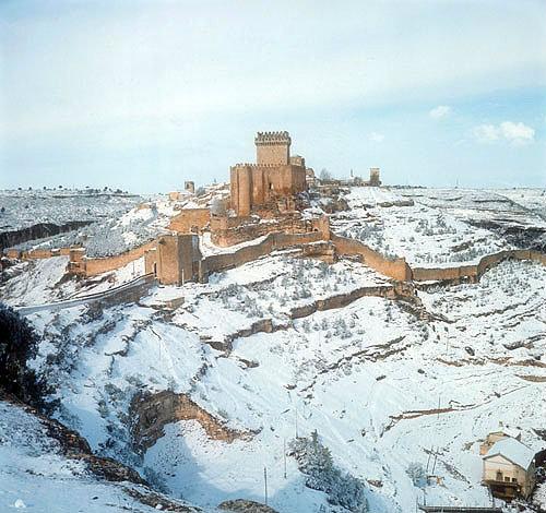 Castle, fourteenth century, under snow, Alarcon, Spain