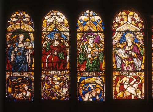 Grammatica, Logica, Retorica and Matematica, four of the eight sciences, 15th century stained glass, Toledo Cathedral, Spain