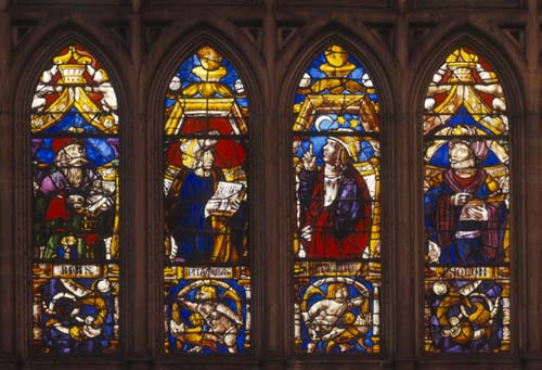 Hipparchos, Greek mathematician and Anaxagoras, Greek philosopher, 15th century stained glass, Toledo Cathedral, Spain