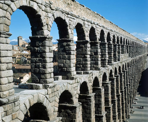 Spain, Segovia, 2nd century Roman aqueduct, north west aspect