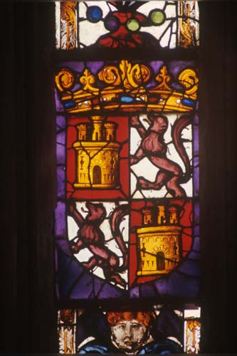 Coat of Arms, 15th century stained glass, Toledo Cathedral, Spain