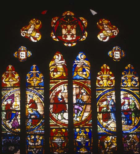 Triforium window no 6, 15th century stained glass, Toledo Cathedral, Spain
