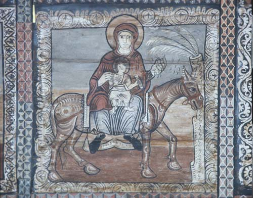 Flight into egypt 12th century wall painting church of for Egyptian fresco mural painting
