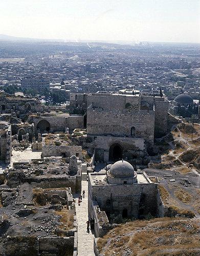 Syria, Aleppo, view over the citadel