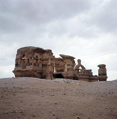 Syria, Qasr Ibn Wardan, palace built by Justinian 561-564 AD and built of bricks, basalt, marble, lava and mortar