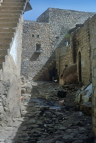 Syria, Apamea, narrow street in citadel