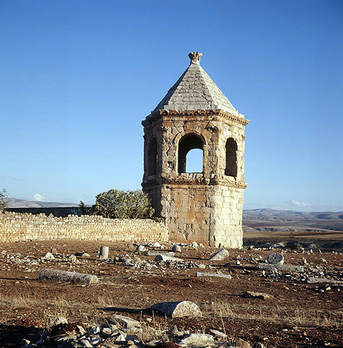 Syria, Cyrrhus, hexagonal mausoleum in which  the roof is pyramid shaped topped by a finial of acanthus flowers