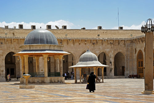 Aleppo, Syria, Great Mosque, founded circa 715 by Caliph Walid I on site of Byzantine cathedral of St Helen burnt 1169, rebuilt by Ayyubid Nur-ad-Din (ruled1146-74)