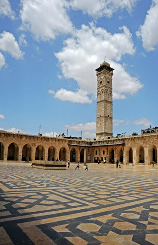 Aleppo, Syria, Great Mosque, founded circa 715 by Caliph Walid I on site of Byzantine cathedral of St Helen burnt 1169, rebuilt by Ayyubid Nur-ad-Din (ruled 1146-74)