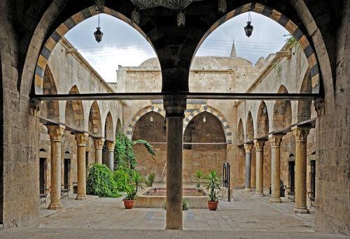 Aleppo, Syria,14th century Mamluk, Maristan Arghun al-Kamili (founded as asylum by Mamluk governor Arghun al-Kamili), central courtyard