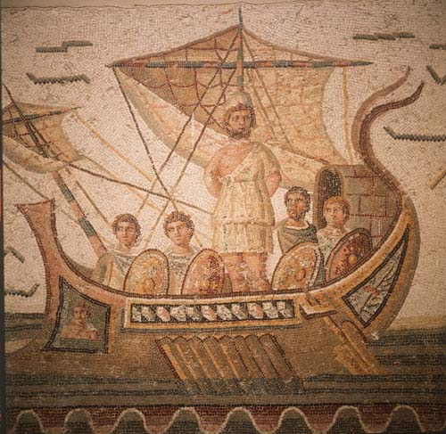 Ulysses tied to the mast, detail of 3rd century mosaic from Thugga, now in Bardo Museum, Tunis, Tunisia