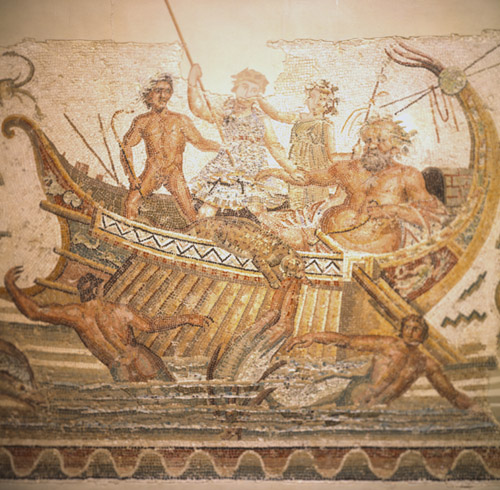 Dionysus and Old Silene fight the pirates of the Thyrrenean sea, 3rd century mosaic from Thugga, now in the Bardo Museum, Tunis, Tunisia