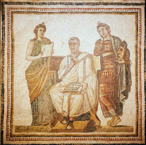 Virgil writing the Aeneid with two Muses Melpomene (tragedy) and Clio (history) a mosaic from Sousse now in the Bardo Museum Tunis