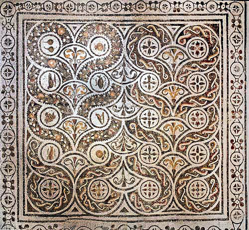 Patterned floor mosaic  with animals, fish, flowers and fruit,  El Djem, Tunisia