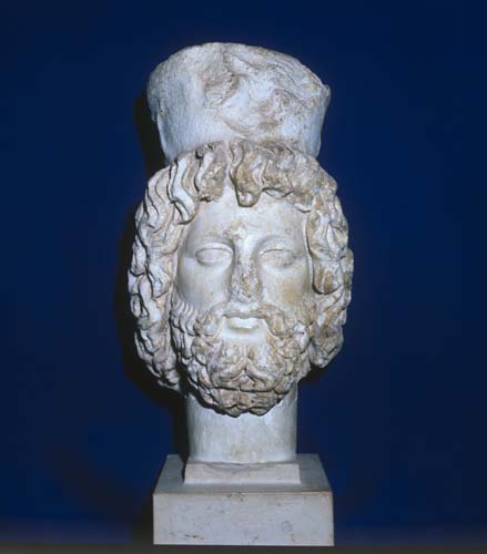 Serapis, sculpted head bearing grain measure, 2nd to 3rd century, Carthage, Tunisia