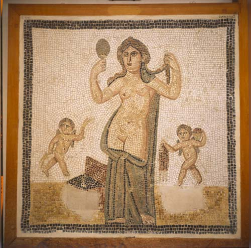 Venus at her toilet, 3rd century mosaic from Thuburbo Majus, now in Bardo Museum, Tunis, Tunisia