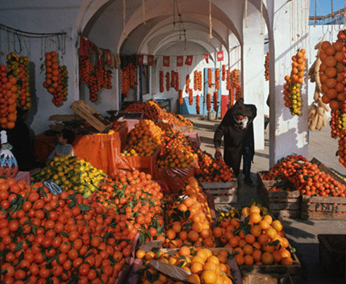 Tunisia Hammamet, the orange market