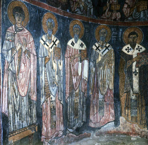 Five doctors of the church, twelfth century, monastery church of Eski Gumus, ...