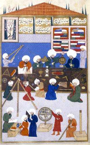 Astronomers working in 16th century Observatory built in Instanbul by Murad III for Taq ad-Din the Clock Astrologer, Istanbul University Library, Turkey